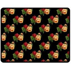 Vintage Roses Wallpaper Pattern Double Sided Fleece Blanket (medium)