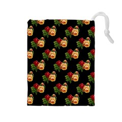 Vintage Roses Wallpaper Pattern Drawstring Pouches (Large)