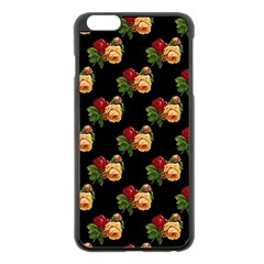 Vintage Roses Wallpaper Pattern Apple iPhone 6 Plus/6S Plus Black Enamel Case