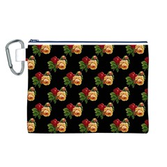 Vintage Roses Wallpaper Pattern Canvas Cosmetic Bag (l)