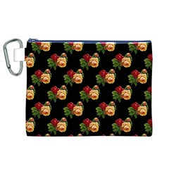 Vintage Roses Wallpaper Pattern Canvas Cosmetic Bag (XL)