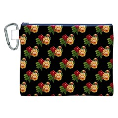 Vintage Roses Wallpaper Pattern Canvas Cosmetic Bag (XXL)