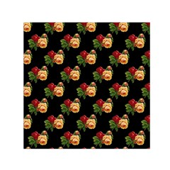 Vintage Roses Wallpaper Pattern Small Satin Scarf (Square)