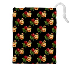 Vintage Roses Wallpaper Pattern Drawstring Pouches (XXL)