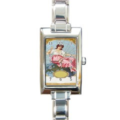 Vintage Art Collage Lady Fabrics Rectangle Italian Charm Watch