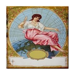 Vintage Art Collage Lady Fabrics Tile Coasters
