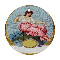 Vintage Art Collage Lady Fabrics Ornament (Round)
