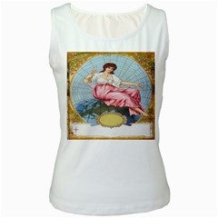 Vintage Art Collage Lady Fabrics Women s White Tank Top