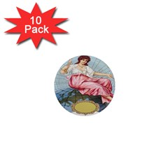 Vintage Art Collage Lady Fabrics 1  Mini Magnet (10 pack)