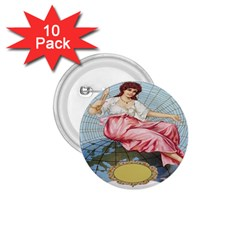 Vintage Art Collage Lady Fabrics 1 75  Buttons (10 Pack)