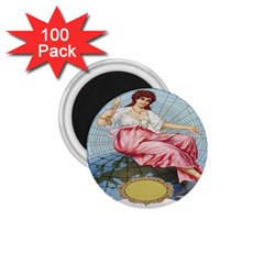 Vintage Art Collage Lady Fabrics 1 75  Magnets (100 Pack)