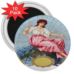 Vintage Art Collage Lady Fabrics 3  Magnets (10 Pack)