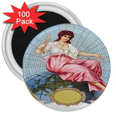 Vintage Art Collage Lady Fabrics 3  Magnets (100 pack)