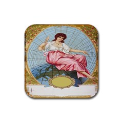 Vintage Art Collage Lady Fabrics Rubber Square Coaster (4 pack)