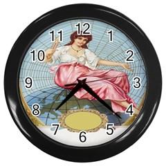 Vintage Art Collage Lady Fabrics Wall Clocks (black)