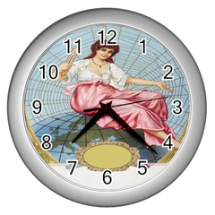 Vintage Art Collage Lady Fabrics Wall Clocks (silver)