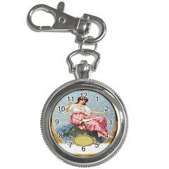 Vintage Art Collage Lady Fabrics Key Chain Watches
