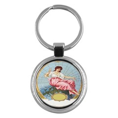 Vintage Art Collage Lady Fabrics Key Chains (Round)