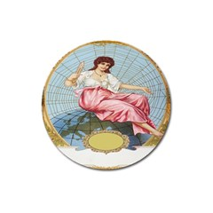Vintage Art Collage Lady Fabrics Magnet 3  (round)