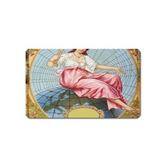 Vintage Art Collage Lady Fabrics Magnet (Name Card)