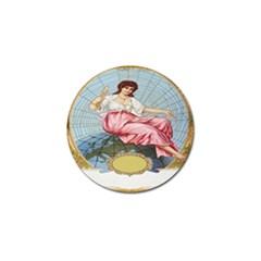 Vintage Art Collage Lady Fabrics Golf Ball Marker (4 pack)
