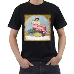 Vintage Art Collage Lady Fabrics Men s T-Shirt (Black) (Two Sided)