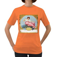 Vintage Art Collage Lady Fabrics Women s Dark T-Shirt