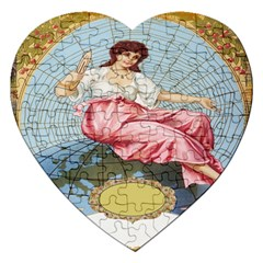 Vintage Art Collage Lady Fabrics Jigsaw Puzzle (Heart)