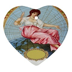 Vintage Art Collage Lady Fabrics Heart Ornament (Two Sides)