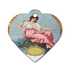 Vintage Art Collage Lady Fabrics Dog Tag Heart (Two Sides)