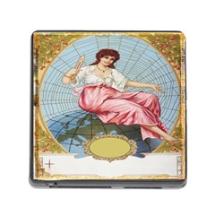 Vintage Art Collage Lady Fabrics Memory Card Reader (square)
