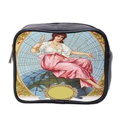 Vintage Art Collage Lady Fabrics Mini Toiletries Bag 2 Side