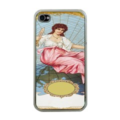 Vintage Art Collage Lady Fabrics Apple iPhone 4 Case (Clear)