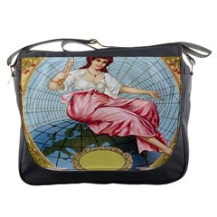 Vintage Art Collage Lady Fabrics Messenger Bags