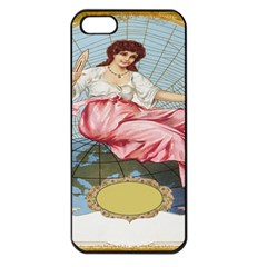 Vintage Art Collage Lady Fabrics Apple iPhone 5 Seamless Case (Black)