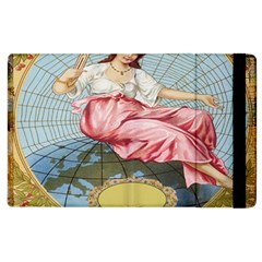 Vintage Art Collage Lady Fabrics Apple iPad 3/4 Flip Case