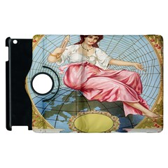 Vintage Art Collage Lady Fabrics Apple Ipad 2 Flip 360 Case