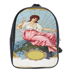 Vintage Art Collage Lady Fabrics School Bags (xl)