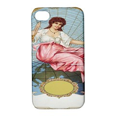 Vintage Art Collage Lady Fabrics Apple iPhone 4/4S Hardshell Case with Stand