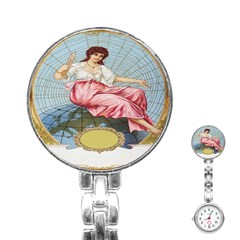 Vintage Art Collage Lady Fabrics Stainless Steel Nurses Watch