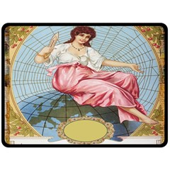 Vintage Art Collage Lady Fabrics Double Sided Fleece Blanket (large)