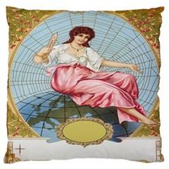 Vintage Art Collage Lady Fabrics Large Flano Cushion Case (one Side)