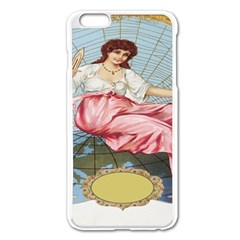 Vintage Art Collage Lady Fabrics Apple iPhone 6 Plus/6S Plus Enamel White Case
