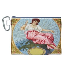 Vintage Art Collage Lady Fabrics Canvas Cosmetic Bag (L)