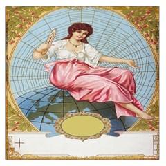 Vintage Art Collage Lady Fabrics Large Satin Scarf (square)