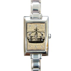 Vintage Music Sheet Crown Song Rectangle Italian Charm Watch