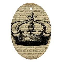 Vintage Music Sheet Crown Song Ornament (oval)