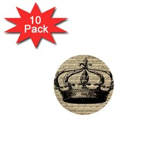 Vintage Music Sheet Crown Song 1  Mini Buttons (10 Pack)