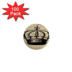 Vintage Music Sheet Crown Song 1  Mini Magnets (100 Pack)