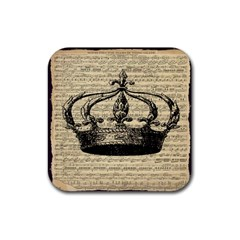 Vintage Music Sheet Crown Song Rubber Square Coaster (4 pack)